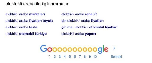 elektirikli araba kelimesi