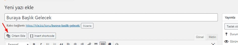 wordpress ortam ekleme