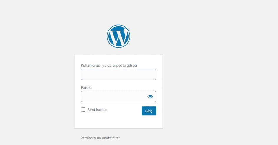 wordpress admin panele giriş