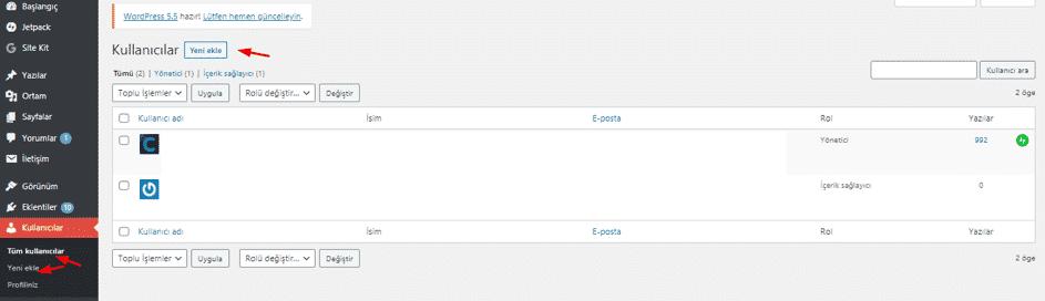 wordpress kullanıcı ekle