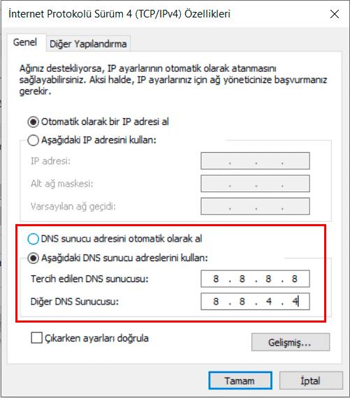 DNS Sunucu Adresleri