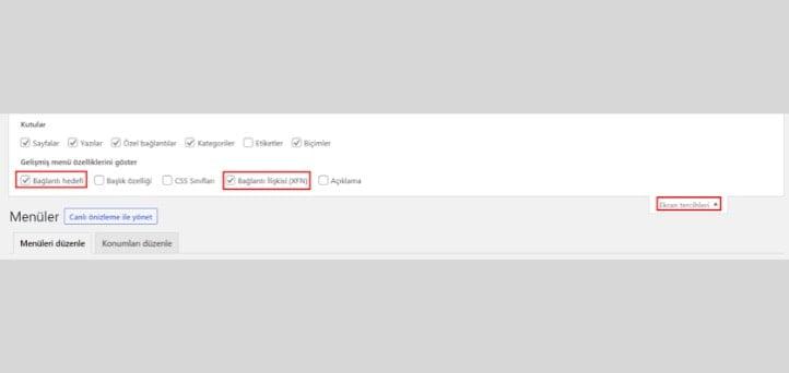 Menü WordPress Nofollow Link Ekleme 1