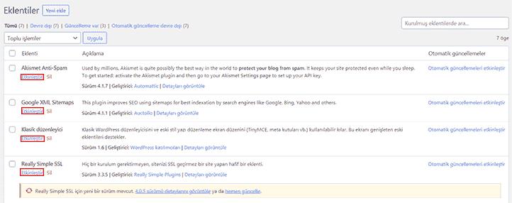 FTP Üzerinden WordPress Eklenti devre dışı bırakma 3