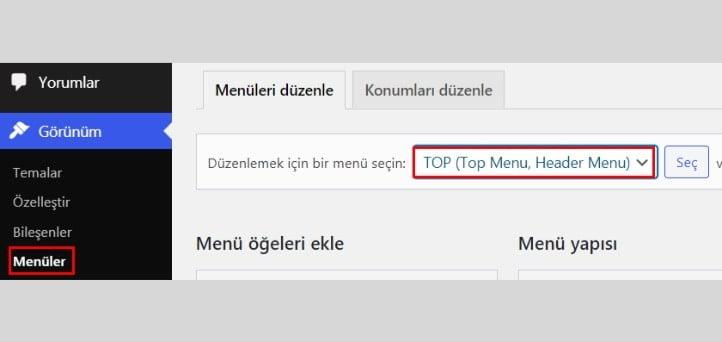 Menü WordPress Nofollow Link Ekleme