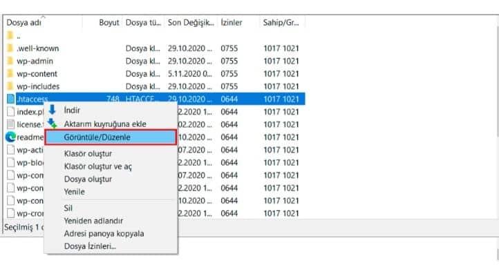 htaccess dosyasını değiştirmek