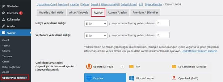 UpDraftPlus-Wordpress-Yedek-Alma-UpDraftPlus-Ayarlarına-Erişme