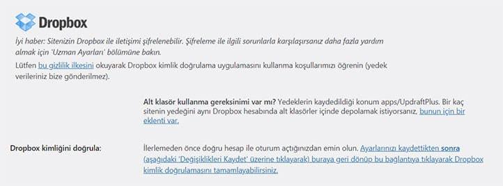 UpdraftPlus WP Yedek Alma Dropbox Sekmesi