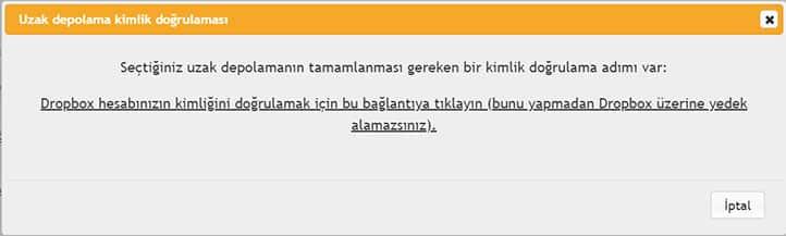UpdraftPlus Wordpress Yedek Alma Dropbox Uyarisi